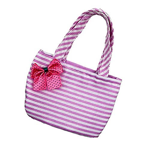 Jili Online Fashion Pink Striped Handbag with Red Bowknot for 18 inch American Girl Doll - Purse Doll Clothes