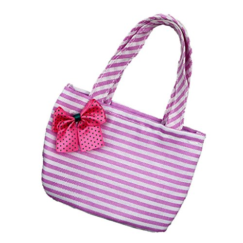 [Jili Online Fashion Pink Striped Handbag with Red Bowknot for 18 inch American Girl Doll] (Online Purses)