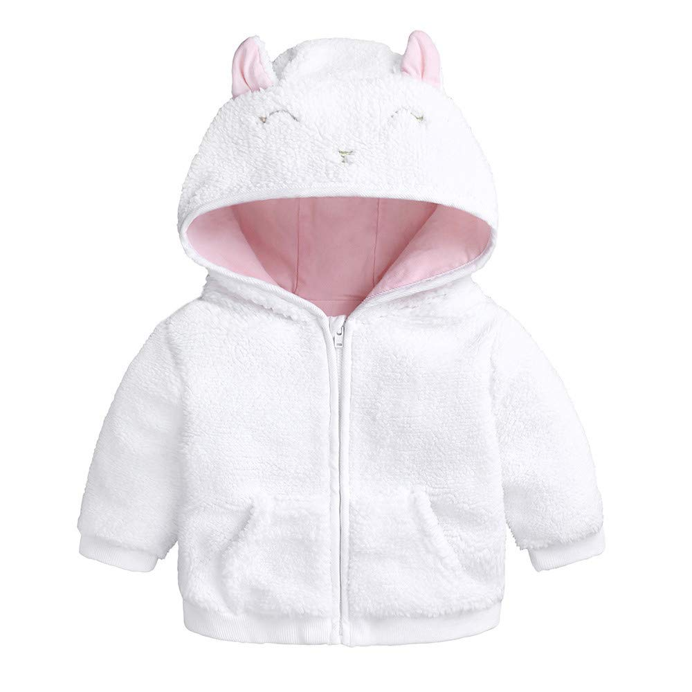 HEETEY Baby M/ädchen Wintermantel Lang/ärmlig Cartoon-Ohr Kapuzenpullover Tops Warme Kleidung Mantel Fleece gef/ütterte Jacke mit Rei/ßverschluss