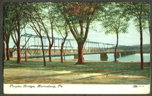 (Peoples Bridge at Harrisburg PA postcard 1910s)