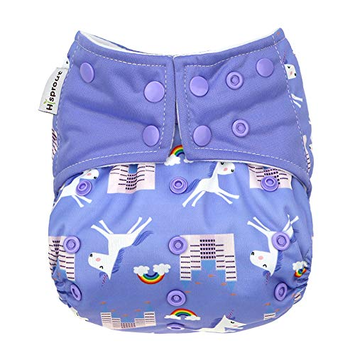 Hi Sprout One Size Adjustable Washable Reusable Pocket Cloth Diapers for Baby Girls and Boys,Unicorn