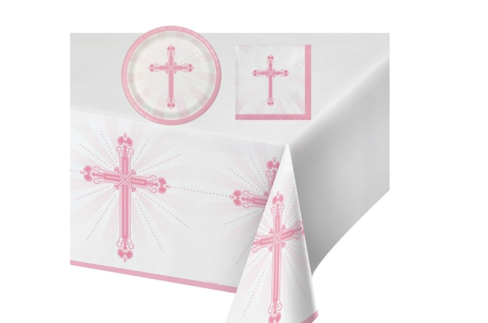 Blessings Pink Celebration Party Supply Pack! Bundle Includes Plates & Napkins for 18 guests, plus a Table Cover
