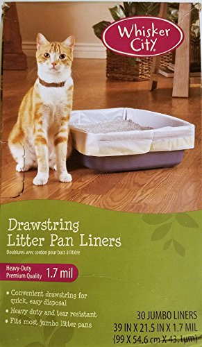 Whisker City Cat Heavy Duty Premium Pan Liner with Drawstring, 30 ct Jumbo 1.7 mil
