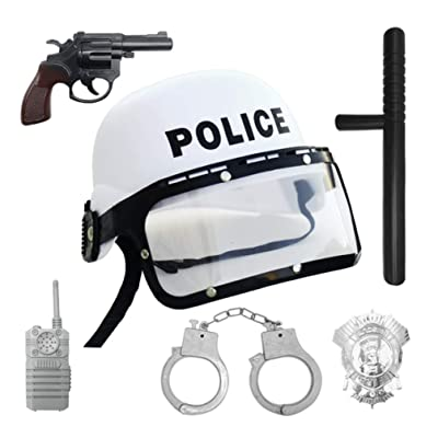 Amosfun 6pcs Police Costume for Kids Party Favors Police Role Play Costume Accessories Educational Toy for Halloween Dress-up Costumes: Toys & Games
