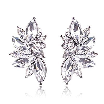 TAGOO Oval Leaf Shape Pineapple Teardrop Design Crystal Stud Earrings Sets for Women&Girls Wedding/Banquet/Dailywear