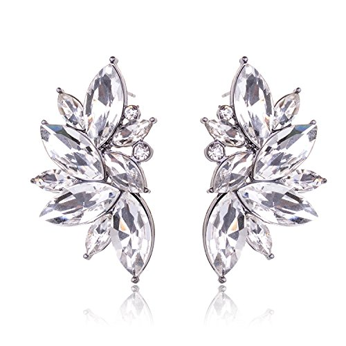 Tagoo Oval Leaf Bridal Clear Crystal Stud Earrings for Womens&Girls Rhinestone Silver Plated (White) 0.9