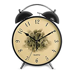 HENSE 8'' Easy to Use Classic Round Twin Bell Alarm Clocks Silent Non Ticking Sweep Second Hand Analog Quartz Bedside Desk Alarm Clock with Loud Alarm Battery Operated HA59 (Black,Roses)