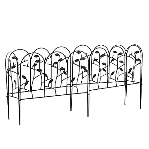 Amagabeli 18 in x 7ft Decorative Garden Fence with Leaves Decorations Landscape Black Iron Wire Fencing Border Edge Sections Edging Panels Folding Patio Fences Flower Bed Animal Barrier Decor (Patio Pickets)