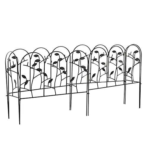 Amagabeli Decorative Garden Fence Coated Metal Outdoor Rustproof 18in x 7ft Landscape Wrought Iron Wire Border Fencing Folding Patio Fences Flower Bed Barrier Sections Panels Decor Picket Edging Black - Classic Guard Rail