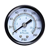 Best Garden Tools 1/8'' 0-160 PSI 10 Metal Bar Oil Water Gas Air Pressure Gauge Compressor Pressure Measuring Instrument Tool