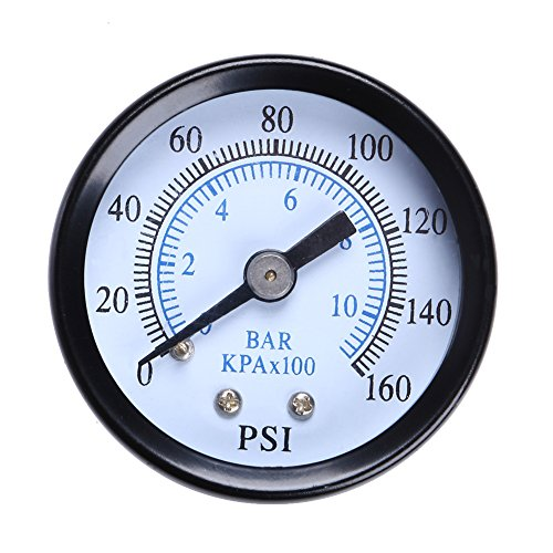 Chrome Water Temperature Gauge (Awakingdemi Water Pressure Gauge,Air Gauge,Metal 1/8 inch 160 Psi 10Bar Compressor Compressed Air Pressure Gauge)
