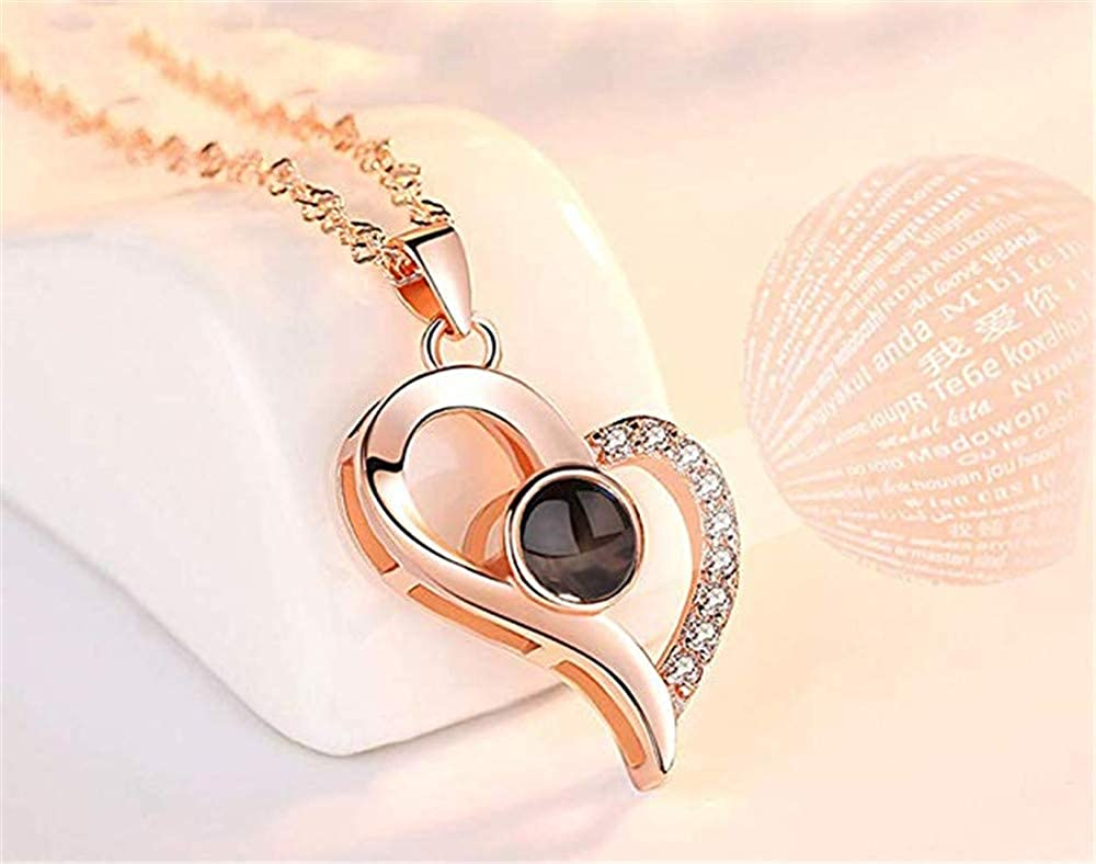 SUNNY Day Customized Photo Necklace for mom 100 Languages Projection Necklace Love Memory Pendant Jewelry for Best Her