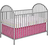 Soft Grey Powder Coated Solid Metal Baby Crib