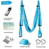 Yoga Trapeze - Yoga Strap/Yoga Swing/Yoga Hammock/Trapeze/Sling for Antigravity Yoga Inversion Exercises-6 Pack ( 2 Mounting sets/2 Extension Straps/Free Vedio in USB Flash Drive )-Aukiee Blue