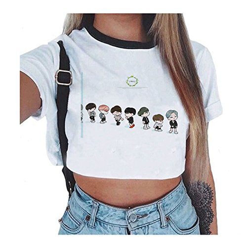 Kpop BTS Femmes Sexy Court Tops Manches Courtes T-Shirt R