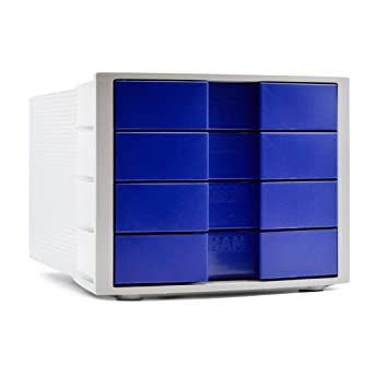 Han 1010-X-14 Impuls - Cajonera de oficina con etiquetas, color gris claro y azul