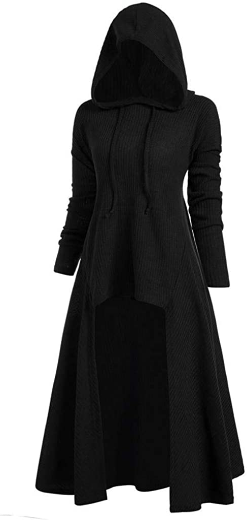 Chaofanjiancai Womens Lace Up Hooded Vintage Pullover High Low Bandage Long Dress Cloak