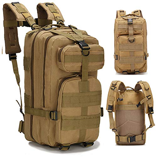 (ALTBP Military Tactical Molle Bug Out Bag Backpacks and Travel Tactical Water Bottle Kettle Pouches (Tan, 35L))