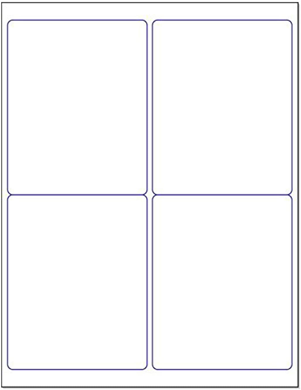 "Blank White Permanent Adhesive Labels for Laser/Ink Jet Printer (4 x 5"" - 4 Per Page 