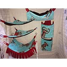 Complete Hammock Set For Rats, Sugar Gliders, Ferrets, or Other Small Pets - Featuring Sock Monkey Print Fleece