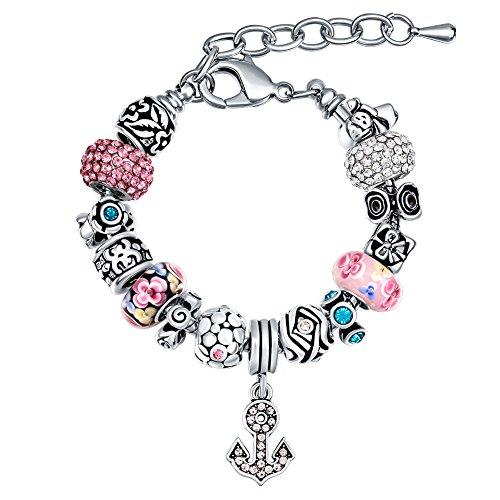 MANBARA Bracelets for Women Womens Love Charm Bangle Bracelet Rhinestone Beads Adjustable Bracelets for Girls DIY Jewelry