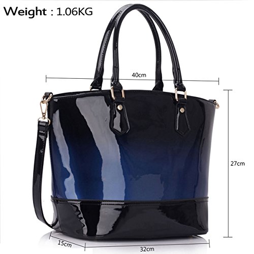 Xardi Ladies women Tote London Bucket Shoulder Celebrity Navy Patent Toned Bags Leather Two Faux gRHgrfwq