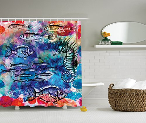 Bamboo Batik (Ambesonne Fish Seahorse Coastal Decor Collection, Sea Creatures Watercolor Painting Effect Batik Print, Polyester Fabric Bathroom Shower Curtain Set with Hooks, 75 Inches Long, Navy Magenta Pink)
