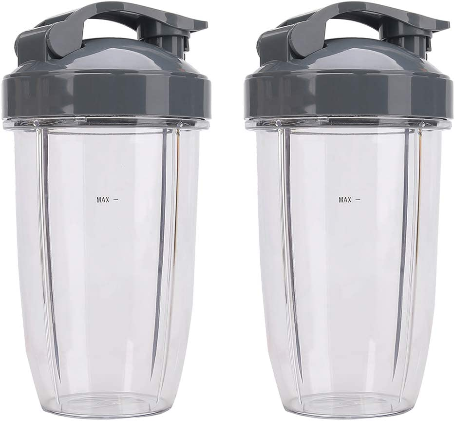 2 Pack 24 OZ Tall Cups Containers with Flip Top To Go Lid for Nutribullet Replacement Parts, Compatible with Nutribullet 600W, Nutribullet 900W, NB-101S NB-101B NB-201 Model Blender Mixer Juicer Accessories