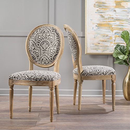 Hawthorne Black and White Patterned Fabric Dining Chair (Set of 2)
