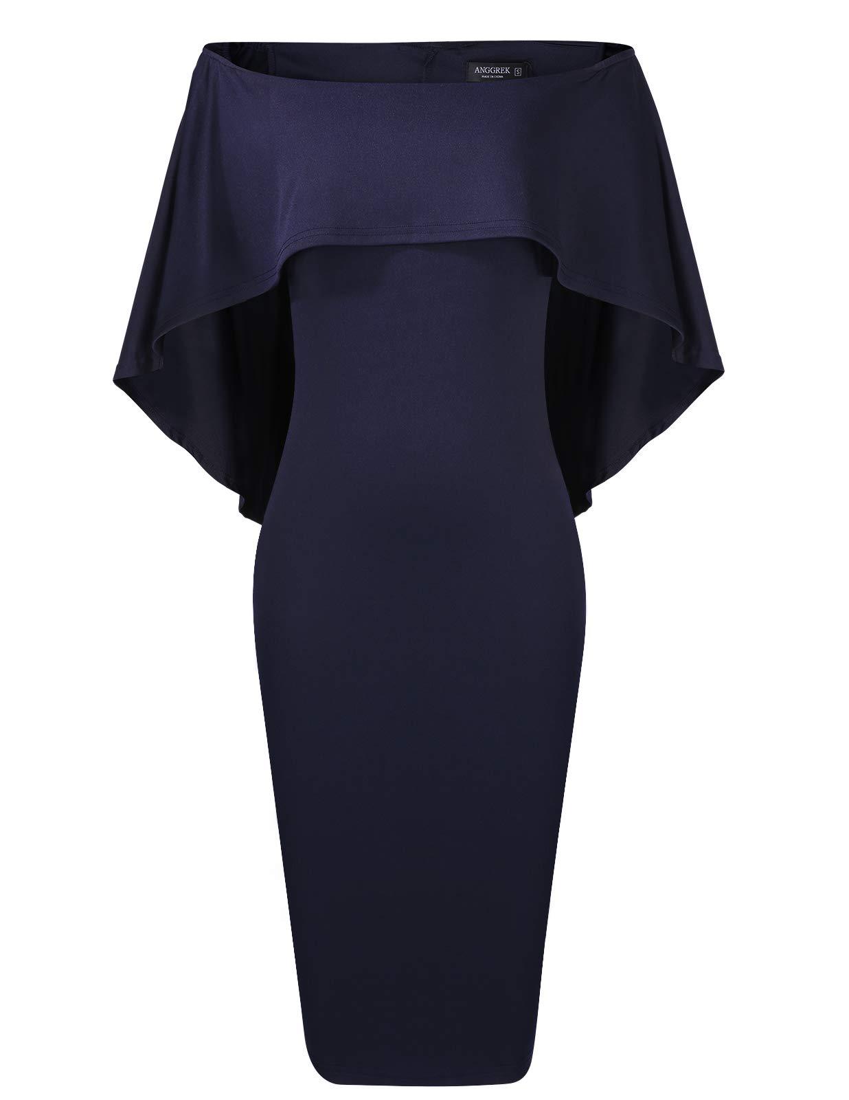 91c9b2feb6 Womens Off The Shoulder Dress Formal Summer Bodycon Cape Dress Midi Navy  Blue M
