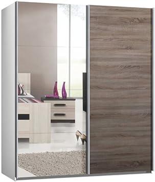 Armario de puertas correderas, puerta corredera, aproximadamente 200 cm, blanco, Espejo con madera de roble salvaje, directamente desde fábrica: Amazon.es: Hogar