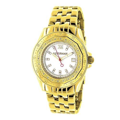 Womens Diamond Watch 0.25ct Yellow Gold LUXURMAN