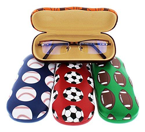 Sports Themed Hard Glasses Case For Kids, Soccer, Football, Basketball, Baseball