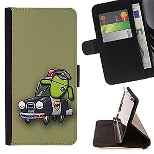 BullDog Case - FOR/Apple Iphone 5 / 5S / - / Design Android Police /- Monedero de cuero de la PU Llevar cubierta de la caja con el ID Credit Card Slots Flip funda de cuer