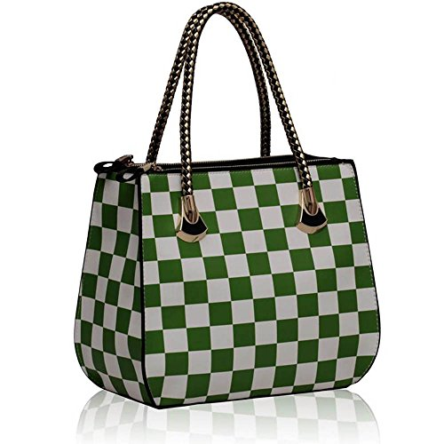 TrendStar - Bolso estilo cartera de piel sintética para mujer marrón ZB - Coffee B - Green/White