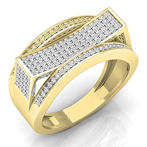 0.60 Carat (ctw) 10K Yellow Gold Round Diamond Men's Hip Hop Micro Pave Wedding Band (Size 13) by DazzlingRock Collection