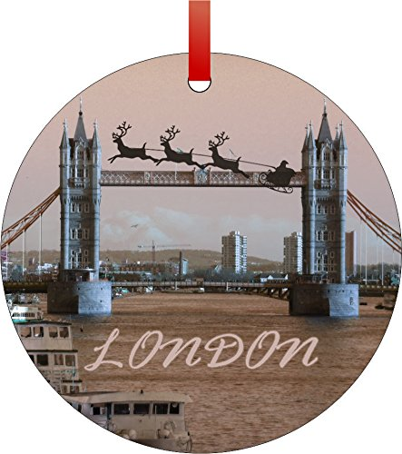 Santa and Sleigh Riding Over The London Bridge-London, England-River Thames-Vintage Style-Round Aluminum Christmas Ornament with a Red Satin Ribbon/Holiday Hanging Tree Ornament/Double-Sided Decoration/Great Unisex Holiday (Vintage Aluminum Christmas Trees)