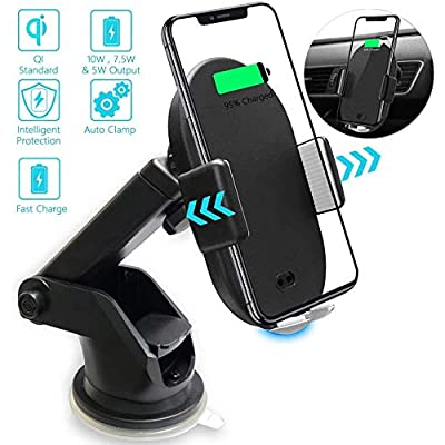 VRURC Wireless Car Charger Mount, Auto Clamp 10W Qi Fast Charge 5W Car Phone Mount, Air Vent Phone Holder Compatible with iPhone Xs Max X XR 8 8 Plus, Samsung Galaxy S10 S10+ S9 S9+ S8 S7