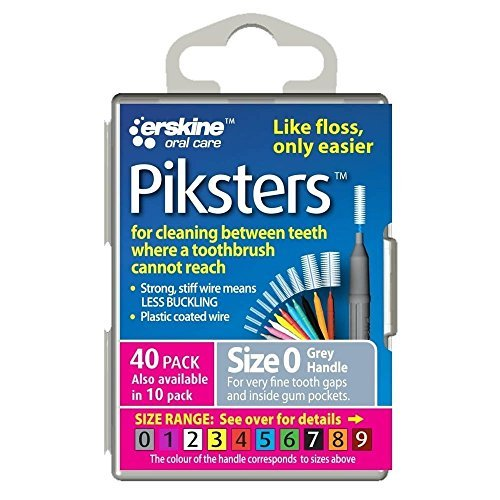 Piksters 0.35 mm Size 0 Silver/Grey Interdental Brush - Pack of 40 by PIKSTERS