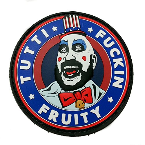 Captain Spaulding Tutti Fuckin Fruity House of 1000 Corpses The Devils Rejects PVC Rubber Morale Patch, Hook Backed Morale Patch by NEO Tactical - In Sf Stores Union Square