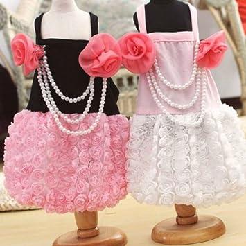 Ropa para mascotas bowknot Rose vestido de novia de la perla: Amazon.es: Hogar