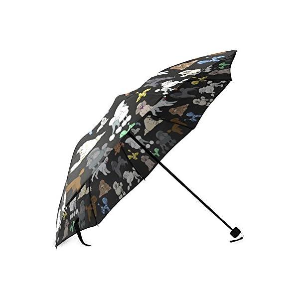 Artsadd Fashion Umbrella Poodle Umbrella Black Foldable Sun Rain Travel Umbrella 3