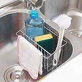 Kitchen Sink Sponge Holder, 304 (18/8) Stainless Steel Sink Caddy Organizer, SZUAH Liquid Drainer Rack for Sponge, Soap, Brush, Dishwashing Accessories