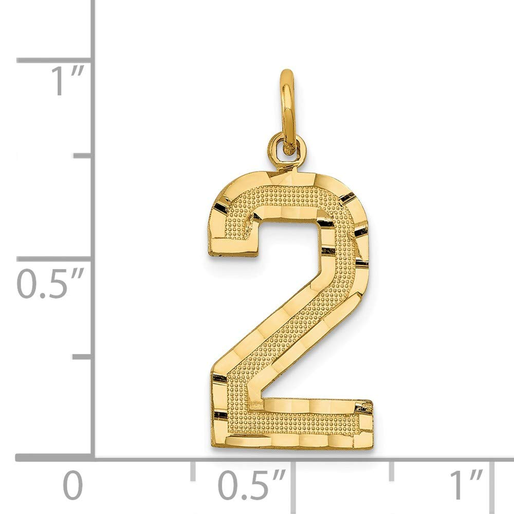25mm x 10mm Mia Diamonds 14k Yellow Gold Y Casted Large Diamond-Cut Number 2 Charm