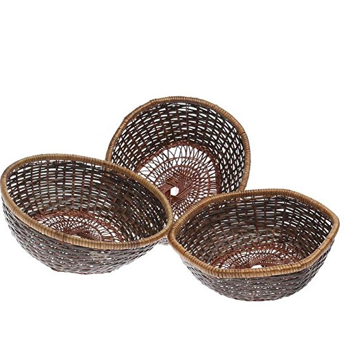 Variegated Reed (Group of 4 Variegated Natural Reed Assorted Shaped Baskets for Holding Trinkets, Serving Breads, and Displaying)
