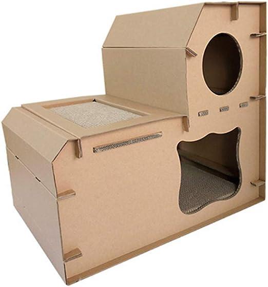 POPETPOP Muebles para Gatos de cartón Resistente a los arañazos para casa de Mascotas, salón, Doble Capa, Juego para Mascotas, Suministros para Dormir y Gatos: Amazon.es: Productos para mascotas