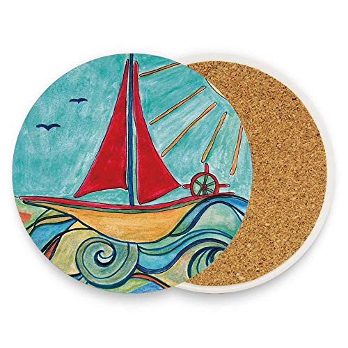 Asefcnxkjii Baby Boy Paintings Ship in the Waves of Ocean Sun Kids Girls Nursery Picture Ceramic Stone Coasters 1 Piece, Mug Coffee Cup Place Mat Home Coasters