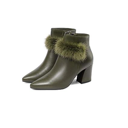 312356e0b Cvbnm La Sra. Señaló los Zapatos de otoño e Invierno Botas de tacón Grueso  Moda