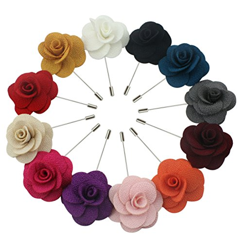 JLIKA Lapel Flower Pin Rose for Wedding Boutonniere Stick (Set of 12 PINS) - Soft Touch Microfiber Jacket