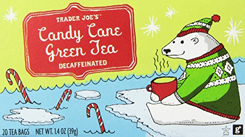 (Trader Joes Candy Cane Green Tea Decaffeinated 20 Tea Bags, a Holiday Favorite with Peppermint,vanilla and Cinnamon Flavors)